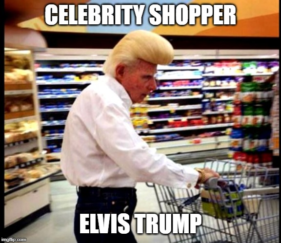 did Elvis have a fling with Trump's mother ? | CELEBRITY SHOPPER ELVIS TRUMP | image tagged in elvis,trump | made w/ Imgflip meme maker