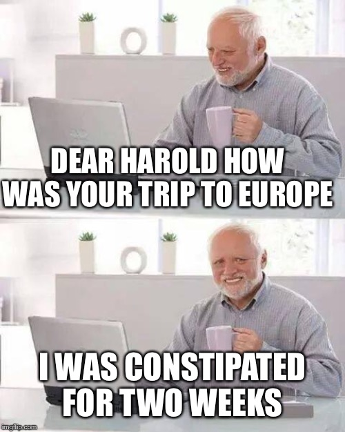 Hide the Pain Harold Meme | DEAR HAROLD HOW WAS YOUR TRIP TO EUROPE I WAS CONSTIPATED FOR TWO WEEKS | image tagged in memes,hide the pain harold | made w/ Imgflip meme maker