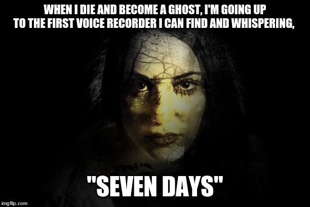"WHEN I DIE AND BECOME A GHOST, I'M GOING UP TO THE FIRST VOICE RECORDER I CAN FIND AND WHISPERING, ""SEVEN DAYS"" 