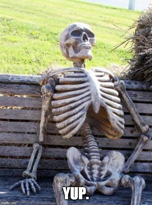 Waiting Skeleton Meme | YUP. | image tagged in memes,waiting skeleton | made w/ Imgflip meme maker