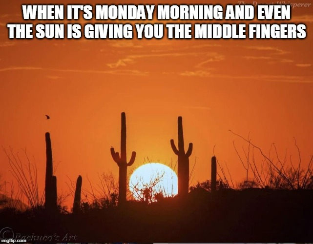 Sun Day |  WHEN IT'S MONDAY MORNING AND EVEN THE SUN IS GIVING YOU THE MIDDLE FINGERS | image tagged in memes,monday,mondays,sun,the sun,i hate mondays | made w/ Imgflip meme maker