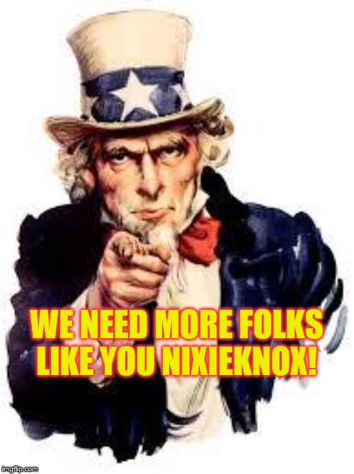 We Want you | WE NEED MORE FOLKS LIKE YOU NIXIEKNOX! | image tagged in we want you | made w/ Imgflip meme maker