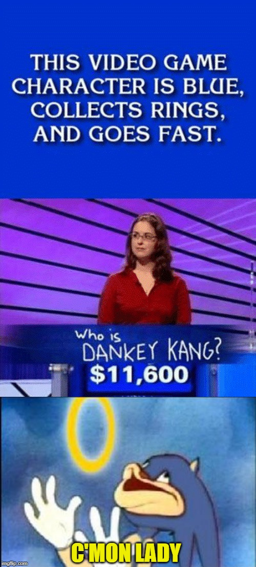 What a donkey | C'MON LADY | image tagged in sonic derp,donkey kong,quiz,answers,video games,youre too slow sonic | made w/ Imgflip meme maker