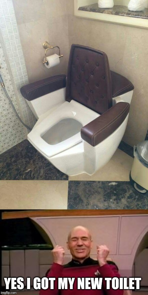 YES I GOT MY NEW TOILET | image tagged in happy picard | made w/ Imgflip meme maker