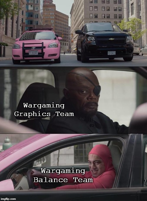 Wargaming Graphics Team Wargaming Balance Team | image tagged in nick fury,pink guy | made w/ Imgflip meme maker
