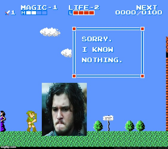 image tagged in jon snow,the legend of zelda | made w/ Imgflip meme maker