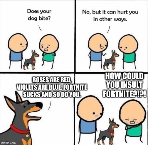 Roses are red, violets are blue. | HOW COULD YOU INSULT FORTNITE?!?! ROSES ARE RED, VIOLETS ARE BLUE. FORTNITE SUCKS AND SO DO YOU. | image tagged in fortnite,talking,insults | made w/ Imgflip meme maker