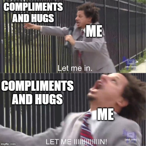 What I really need | COMPLIMENTS AND HUGS COMPLIMENTS AND HUGS ME ME | image tagged in let me in,eric andre,2019,compliment,hugs,adult swim | made w/ Imgflip meme maker