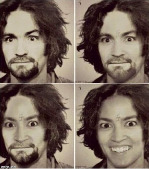 I'll just leave this here | image tagged in charles manson,alexandria ocasio-cortez,political meme | made w/ Imgflip meme maker