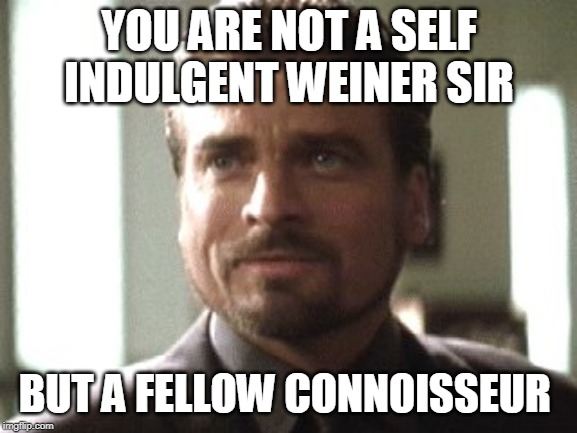 YOU ARE NOT A SELF INDULGENT WEINER SIR BUT A FELLOW CONNOISSEUR | made w/ Imgflip meme maker