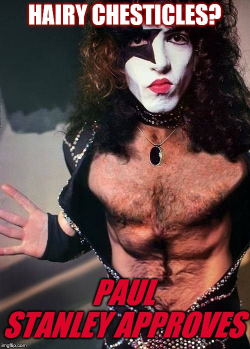 Paul Stanley | HAIRY CHESTICLES? PAUL STANLEY APPROVES | image tagged in paul stanley | made w/ Imgflip meme maker