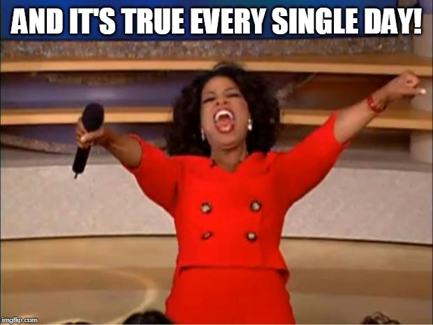 Oprah You Get A Meme | AND IT'S TRUE EVERY SINGLE DAY! | image tagged in memes,oprah you get a | made w/ Imgflip meme maker