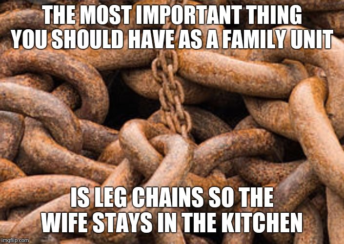 The kitchen is your safe space | THE MOST IMPORTANT THING YOU SHOULD HAVE AS A FAMILY UNIT IS LEG CHAINS SO THE WIFE STAYS IN THE KITCHEN | image tagged in rusted chains,women,nagging wife,housewife,real housewives | made w/ Imgflip meme maker