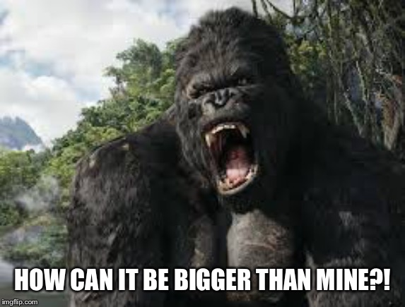 king kong | HOW CAN IT BE BIGGER THAN MINE?! | image tagged in king kong | made w/ Imgflip meme maker