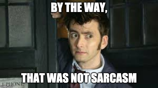 BY THE WAY, THAT WAS NOT SARCASM | image tagged in tennant side-eye | made w/ Imgflip meme maker