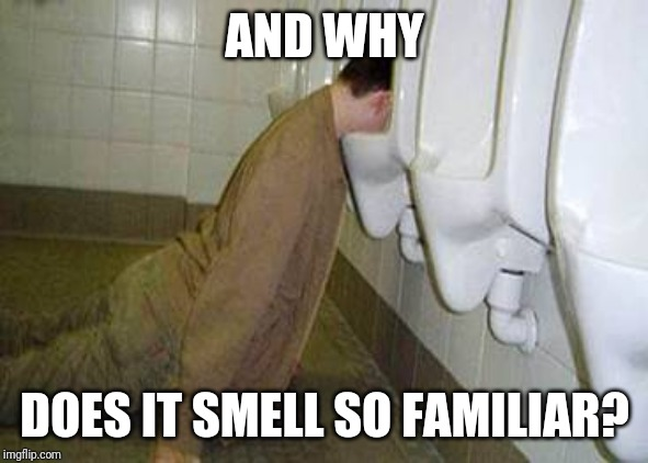 Urinal guy | AND WHY DOES IT SMELL SO FAMILIAR? | image tagged in urinal guy | made w/ Imgflip meme maker
