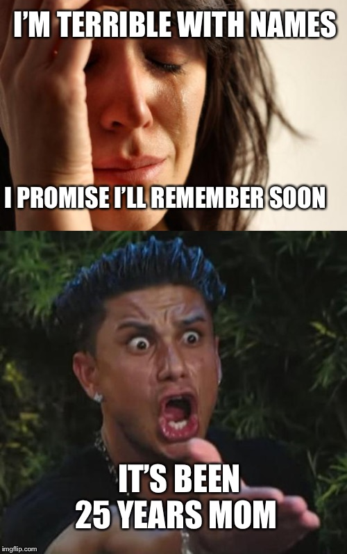 I'M TERRIBLE WITH NAMES I PROMISE I'LL REMEMBER SOON IT'S BEEN 25 YEARS MOM | image tagged in memes,first world problems,dj pauly d,bad parents | made w/ Imgflip meme maker