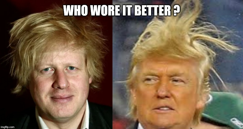 Trump dump | WHO WORE IT BETTER ? | image tagged in donald trump,england,bad hair day,prime minister,bad hair | made w/ Imgflip meme maker