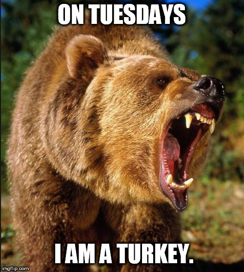 ON TUESDAYS I AM A TURKEY. | made w/ Imgflip meme maker