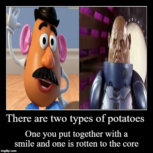 There are two types of people in this world | There are two types of potatoes | One you put together with a smile and one is rotten to the core | image tagged in funny,demotivationals,mr potato head,sontaran | made w/ Imgflip demotivational maker