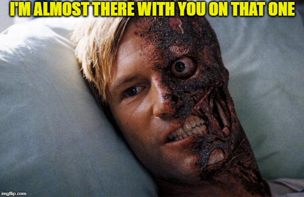 Two Face | I'M ALMOST THERE WITH YOU ON THAT ONE | image tagged in two face | made w/ Imgflip meme maker