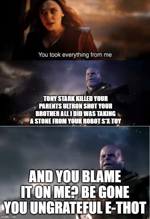 TONY STARK KILLED YOUR PARENTS ULTRON SHOT YOUR BROTHER ALL I DID WAS TAKING A STONE FROM YOUR ROBOT S*X TOY; AND YOU BLAME IT ON ME? BE GONE YOU UNGRATEFUL E-THOT | image tagged in thanos i don't even know who you are,you took everything from me | made w/ Imgflip meme maker