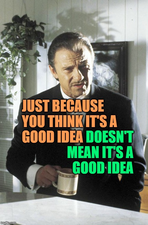 Pulp Volition | JUST BECAUSE  YOU THINK IT'S A  GOOD IDEA DOESN'T MEAN IT'S A GOOD IDEA | image tagged in mr wolf,so true memes,life lessons,good idea/bad idea,just because,pulp fiction | made w/ Imgflip meme maker