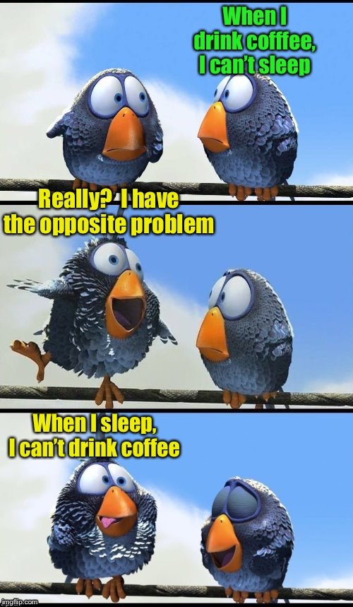 Drinking problem |  When I drink cofffee, I can't sleep; Really?  I have the opposite problem; When I sleep, I can't drink coffee | image tagged in for the birds,coffee addict,coffee | made w/ Imgflip meme maker