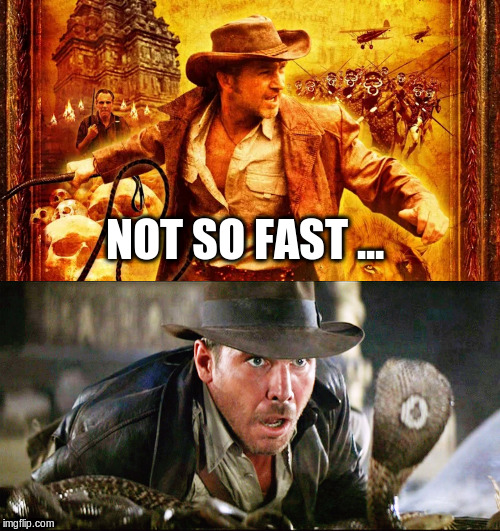 NOT SO FAST ... | image tagged in indiana jones snakes | made w/ Imgflip meme maker