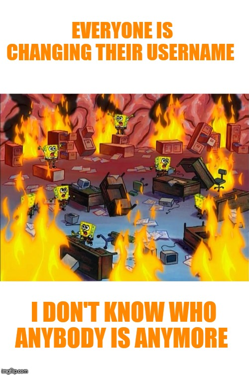 spongebob fire |  EVERYONE IS CHANGING THEIR USERNAME; I DON'T KNOW WHO ANYBODY IS ANYMORE | image tagged in spongebob fire,guess who,confusion,i just don't know you anymore | made w/ Imgflip meme maker