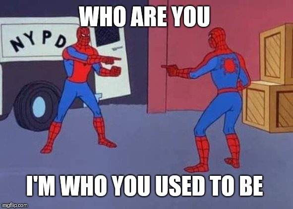 Spiderman mirror | WHO ARE YOU I'M WHO YOU USED TO BE | image tagged in spiderman mirror | made w/ Imgflip meme maker