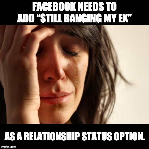 "First World Problems Meme | FACEBOOK NEEDS TO ADD ""STILL BANGING MY EX"" AS A RELATIONSHIP STATUS OPTION. 
