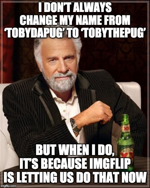 Just putting it out there: TobyDaPug is now TobyThePug. |  I DON'T ALWAYS CHANGE MY NAME FROM 'TOBYDAPUG' TO 'TOBYTHEPUG'; BUT WHEN I DO, IT'S BECAUSE IMGFLIP IS LETTING US DO THAT NOW | image tagged in memes,the most interesting man in the world,funny | made w/ Imgflip meme maker