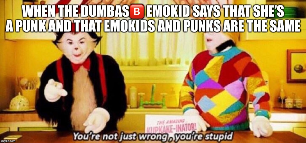 Yea I'm bored | WHEN THE DUMBAS?️ EMOKID SAYS THAT SHE'S A PUNK AND THAT EMOKIDS AND PUNKS ARE THE SAME | image tagged in memes,dank meme,punk,emo,haha,hahaha | made w/ Imgflip meme maker