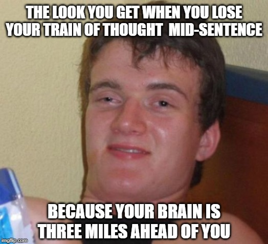It's true... | THE LOOK YOU GET WHEN YOU LOSE YOUR TRAIN OF THOUGHT  MID-SENTENCE BECAUSE YOUR BRAIN IS THREE MILES AHEAD OF YOU | image tagged in memes,10 guy,stoned,high | made w/ Imgflip meme maker