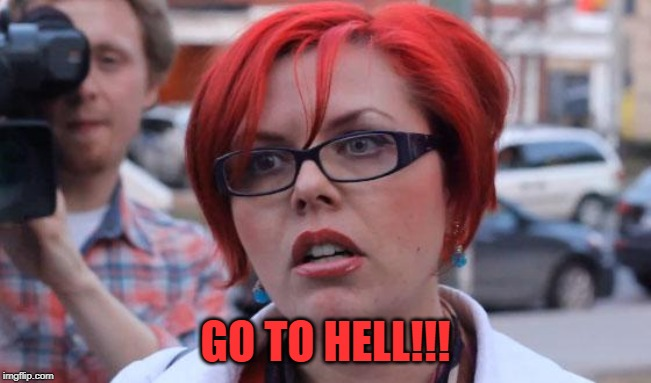 Angry Feminist | GO TO HELL!!! | image tagged in angry feminist | made w/ Imgflip meme maker