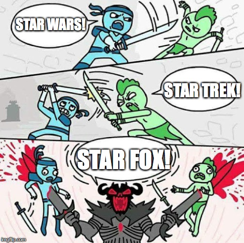I'm getting attacked aren't I? | STAR WARS! STAR FOX! STAR TREK! | image tagged in sword fight | made w/ Imgflip meme maker