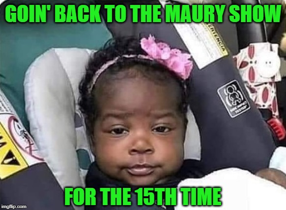 But we're sure this one is the father!!! | GOIN' BACK TO THE MAURY SHOW FOR THE 15TH TIME | image tagged in bored baby,memes,maury povich,funny,who's the daddy,paternity tests | made w/ Imgflip meme maker