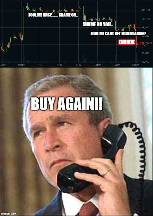 Bush buy | FOOL ME ONCE........ SHAME ON... SHAME ON YOU.. ...FOOL ME CANT GET FOOLED AGAIN! EHHH!!!! BUY AGAIN!! | image tagged in george bush,stock market,buy,sell out,dumb | made w/ Imgflip meme maker