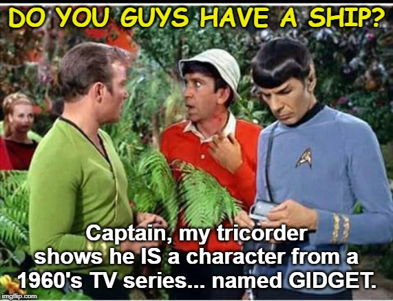 Gilligan Trek II: The Wrath of Thurston Howell III | DO YOU GUYS HAVE A SHIP? Captain, my tricorder shows he IS a character from a 1960's TV series... named GIDGET. | image tagged in star trek,gilligans island,mashup,funny memes,william shatner,mr spock | made w/ Imgflip meme maker