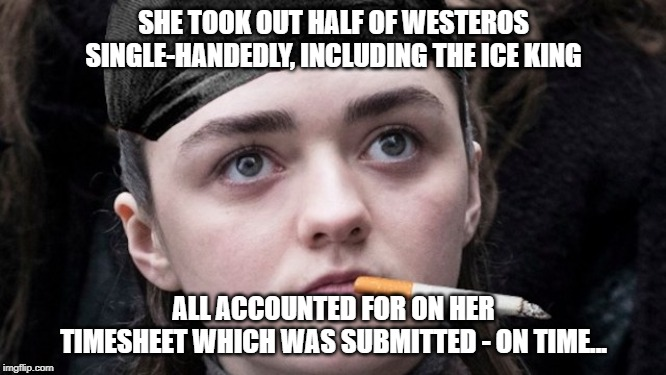 If Arya can do it, so can you! | SHE TOOK OUT HALF OF WESTEROS SINGLE-HANDEDLY, INCLUDING THE ICE KING ALL ACCOUNTED FOR ON HER TIMESHEET WHICH WAS SUBMITTED - ON TIME... | image tagged in not today,starks in 4,game of thrones meme,arya meme,timesheet meme | made w/ Imgflip meme maker