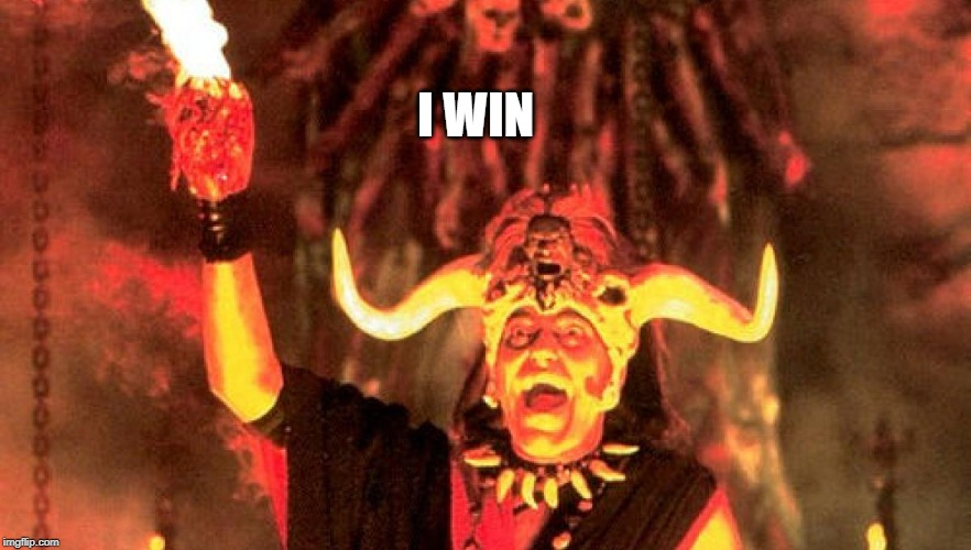 Temple of Doom Heart | I WIN | image tagged in temple of doom heart | made w/ Imgflip meme maker