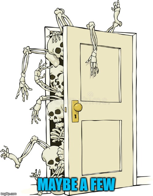 skeletons in closet | MAYBE A FEW | image tagged in skeletons in closet | made w/ Imgflip meme maker