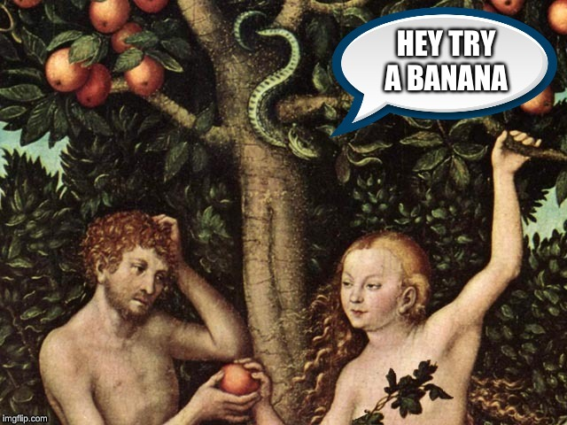 The True Temptation | HEY TRY A BANANA | image tagged in banana | made w/ Imgflip meme maker
