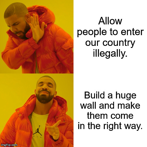 Drake Hotline Bling | Allow people to enter our country illegally. Build a huge wall and make them come in the right way. | image tagged in memes,drake hotline bling | made w/ Imgflip meme maker