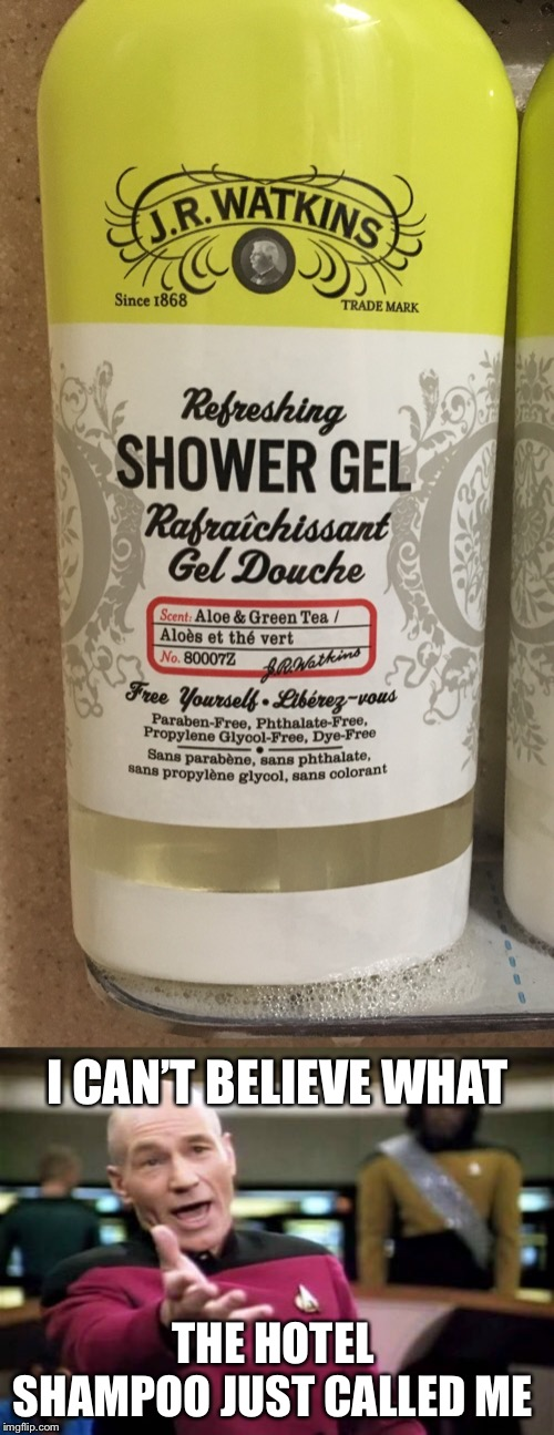 I CAN'T BELIEVE WHAT THE HOTEL SHAMPOO JUST CALLED ME | image tagged in memes,picard wtf,bad puns,douchebag,douche | made w/ Imgflip meme maker