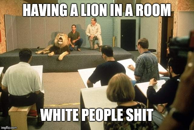 White people shit | HAVING A LION IN A ROOM WHITE PEOPLE SHIT | image tagged in white people shit | made w/ Imgflip meme maker