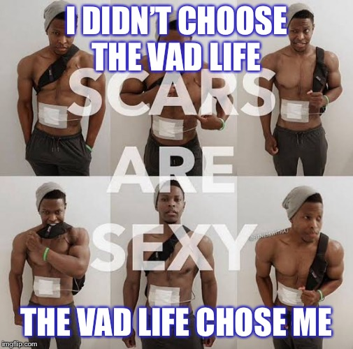 I DIDN'T CHOOSE THE VAD LIFE THE VAD LIFE CHOSE ME | image tagged in heart,failure,vad,life,terminal,fitness | made w/ Imgflip meme maker