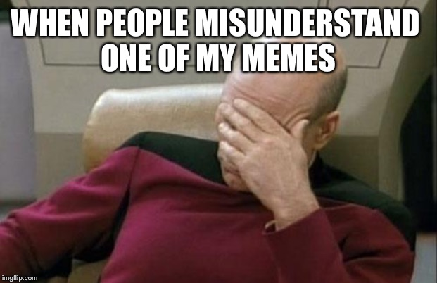 Captain Picard Facepalm |  WHEN PEOPLE MISUNDERSTAND  ONE OF MY MEMES | image tagged in memes,captain picard facepalm | made w/ Imgflip meme maker