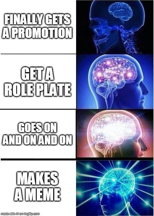 Expanding Brain Meme |  FINALLY GETS A PROMOTION; GET A ROLE PLATE; GOES ON AND ON AND ON; MAKES A MEME | image tagged in memes,expanding brain | made w/ Imgflip meme maker